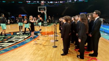 Nassau Concert Choir performs at Madison Square Garden for the New York Liberty game