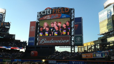 Nassau Concert Choir on the Jumbotron