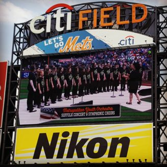 Suffolk Concert Choir and Symphonic Choir on the Jumbotron at Citi Field