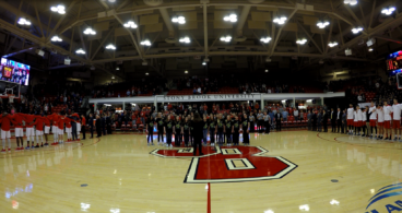 Suffolk Concert Choir performs the National Anthem at Stony Brook University Seawolves Basketball. February 3, 2018.